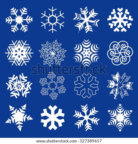 Snow flakes. Set of  original stylized snow flakes on the dark blue background. Vector  available.  - stock vector