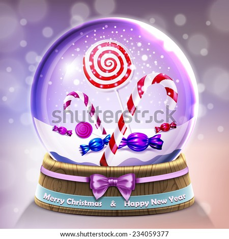 Snow glass crystal ball with christmas lollipops and candycanes in vector - stock vector