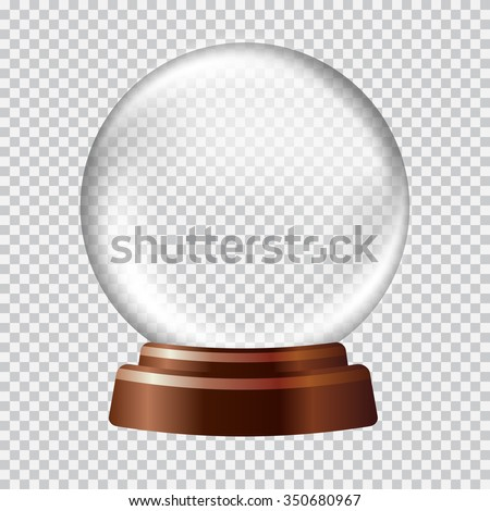 Snow globe. Big white transparent glass sphere on a stand with glares and highlights. Vector illustration contains gradients and effects. Winter christmas background for your design and business. - stock vector