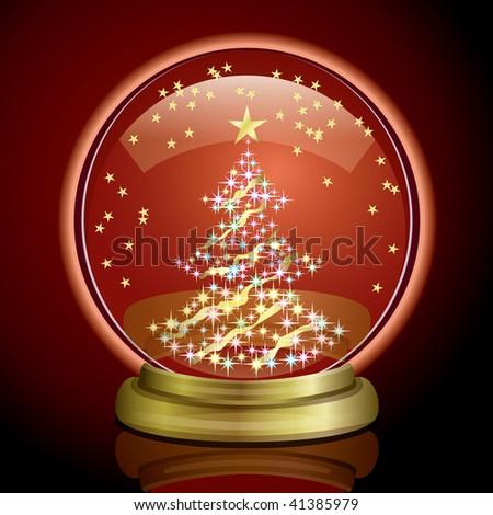 Snow Globe - Christmas Tree - stock vector