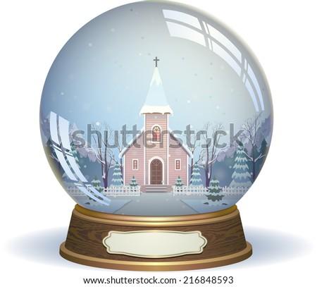 Snow globe with a church - stock vector