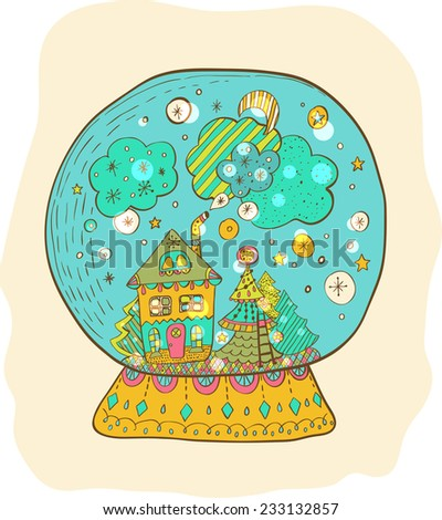 Snow globe with decorated xmas town, Christmas color doodle illustration - stock vector