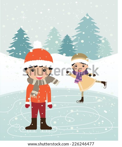 Snow landscape background with cute little boy and girl. Vector illustration for retro christmas card. - stock vector