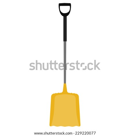 Snow shovel, yellow shovel, hand tool, digging, snow shovel isolated - stock vector