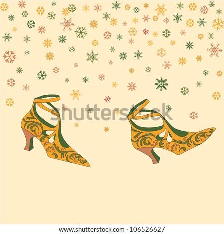 Snow walk concept. Christmas winter vintage card. Fashion shoes under snowfall. - stock vector