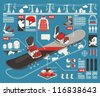 snowboard info graphic elements, snowboard parts background, - stock vector