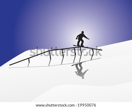 snowboard silhouette rail sliding on a moon lit night. - stock vector
