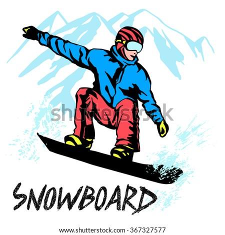 Snowboarder illustration vector. Winter sport, snowboard - stock vector