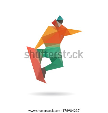 Snowboarder jumping abstract isolated on a white backgrounds, vector illustration - stock vector