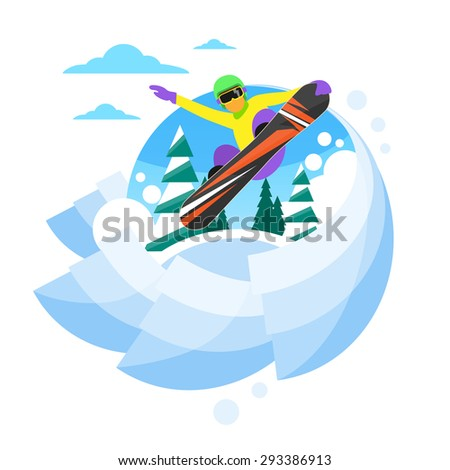 Snowboarder Sliding Down Hill, Man Snowboarding Snow Mountains Slopes Logo Flat Vector Illustration - stock vector