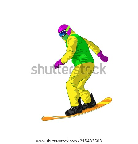 Snowboarder sliding down, man snowboarding, Vector Illustration - stock vector