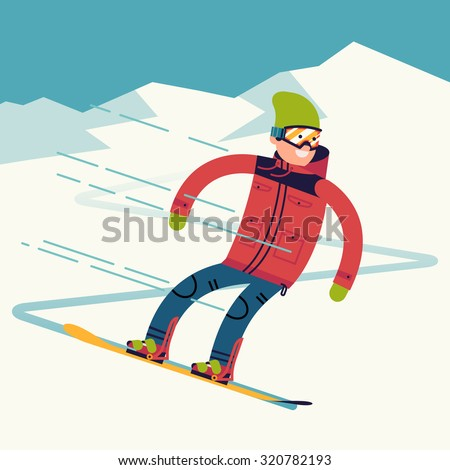 Snowboarder vector character riding on snowy mountain slope | Male winter sportsman snowboarding fast from mountain top in trendy flat design - stock vector