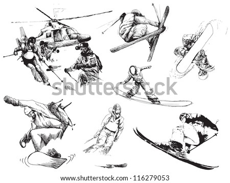 Snowboarders and skiers collection. Hand drawing. Editable in layers. - stock vector