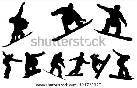 Snowboarding - vector - stock vector