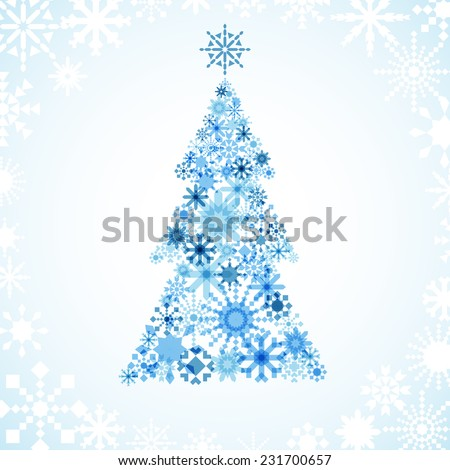 Snowflake Christmas Tree - Christmas tree design on gradient background.  Each snowflake is grouped individually for easy editing. - stock vector