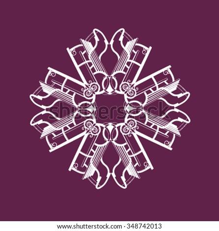Snowflake composed of toboggans - stock vector