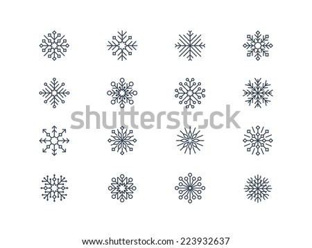 Snowflake icons 6 - stock vector