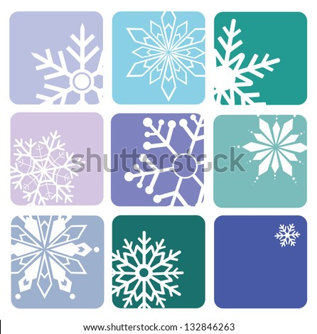 Snowflake  icons on blue background - stock vector
