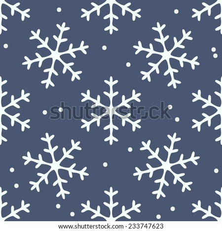 Snowflake seamless pattern. Vector snowflakes background. - stock vector
