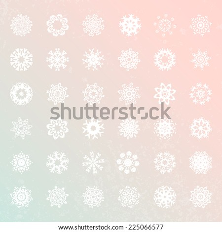 Snowflake vector collection. Unique winter decoration elements in flat style. Christmas and New Year symbols. Geometric circle shapes. - stock vector