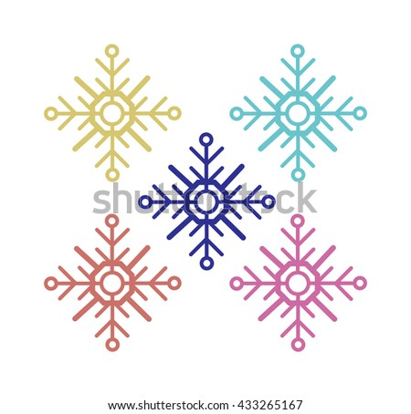 Snowflake vector illustration and season nature winter snowflake symbol. Snowflake frozen ice xmas element and snowflake frost silhouette sign. Winter snow traditional beautiful star ornament. - stock vector