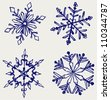 Snowflake winter. Sketch - stock vector