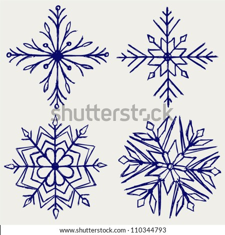 Snowflakes Doodle Stock Vector - Image: 45033360