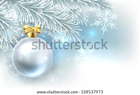 Snowflakes and Christmas tree bauble decoration ornament winter design background. - stock vector