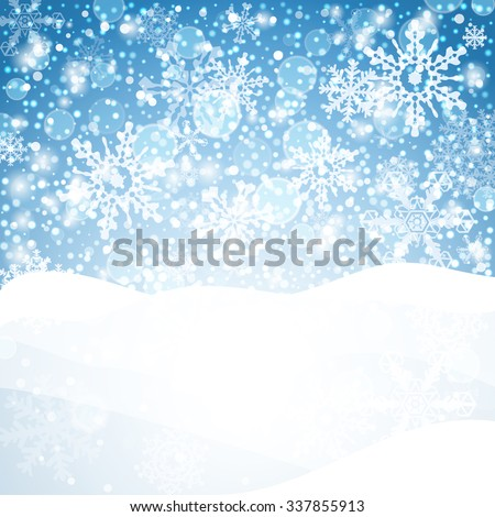 Snowflakes background. Geometric natural flakes shapes elements. Greetings banner winter holiday. Vector EPS10. - stock vector