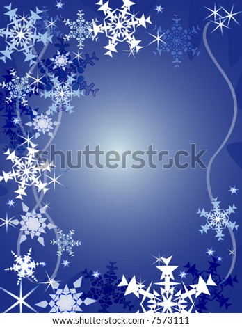 Snowflakes background (vector) - stock vector