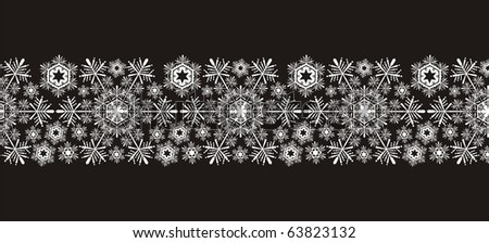 snowflakes border in vector format very easy to edit, individual objects - stock vector