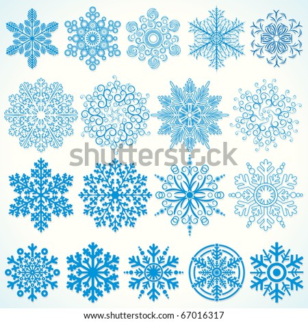 Snowflakes Collection - christmassy vector design elements - stock vector