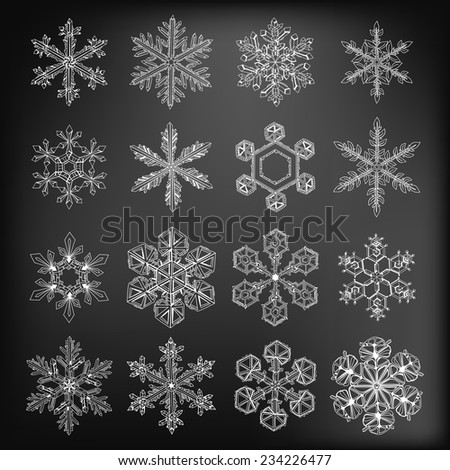 Snowflakes. Collection of 16 beautiful hand - drawn snowflakes on chalkboard background. - stock vector