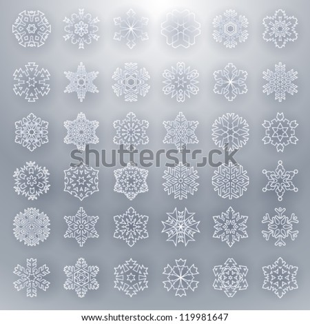 Snowflakes grey - stock vector