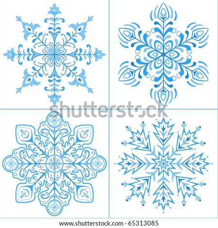 Snowflakes isolated - winter set, complex figured forms - stock vector