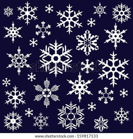 Snowflakes on dark background - stock vector