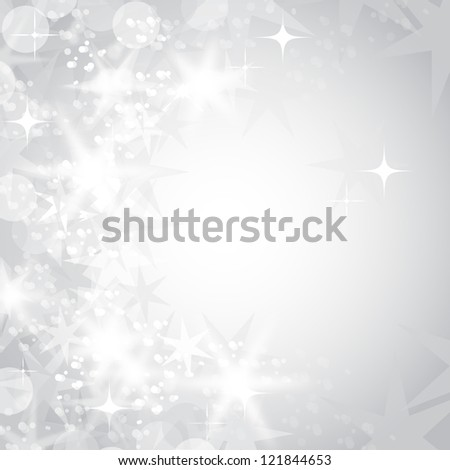 Snowflakes on Silver Background - Vector illustration. Light silver abstract Christmas background with white snowflakes and stars - stock vector