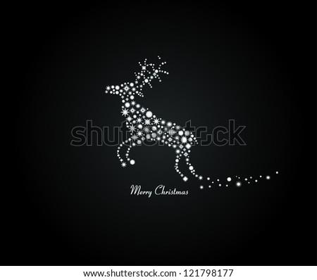 Snowflakes reindeer - stock vector