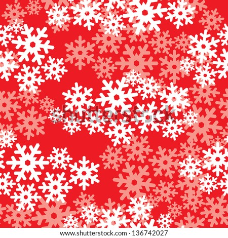Snowflakes seamless pattern, snow background. - stock vector