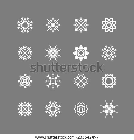 Snowflakes set. Background for winter and christmas theme. Vector illustration.  EPS10. - stock vector