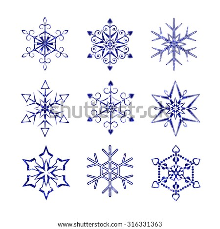 Snowflakes set. Snowflakes made of a glitter texture - stock vector