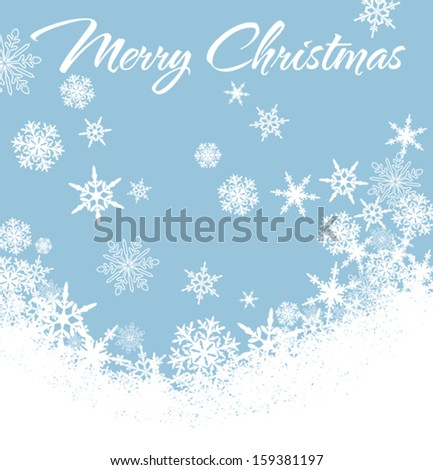 Snowflakes - Snowflake Christmas Card, Background with Copy Space - stock vector
