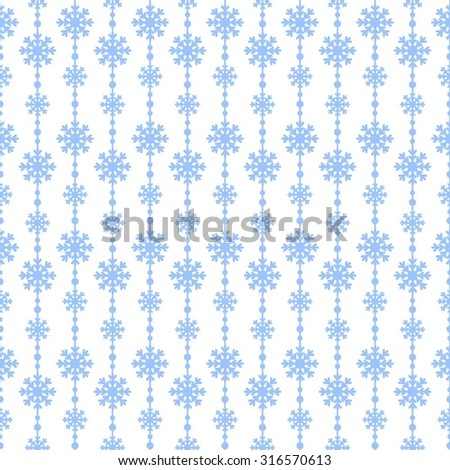 Snowflakes vector seamless pattern. Christmas background - stock vector