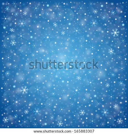 Snowflakes, winter frosty snow background - stock vector