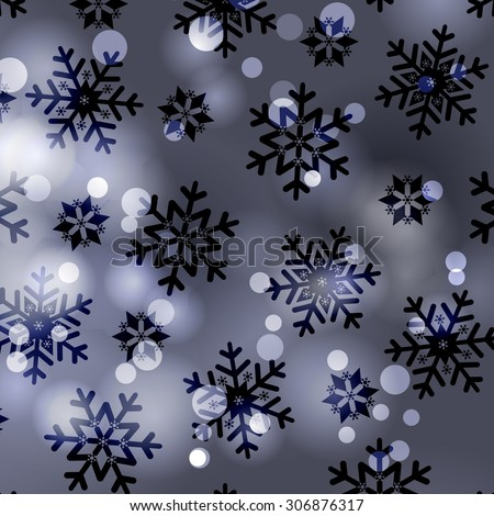 Snowflakes, winter frosty snow Christmas background - stock vector