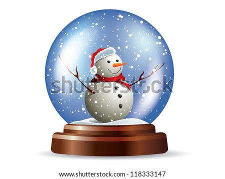 Snowglobe with snowman - stock vector