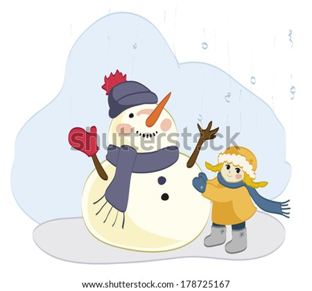 Snowman and little girl enjoyed the snow - stock vector