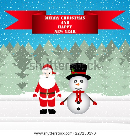 Snowman and Santa Claus in a Christmas forest  - stock vector
