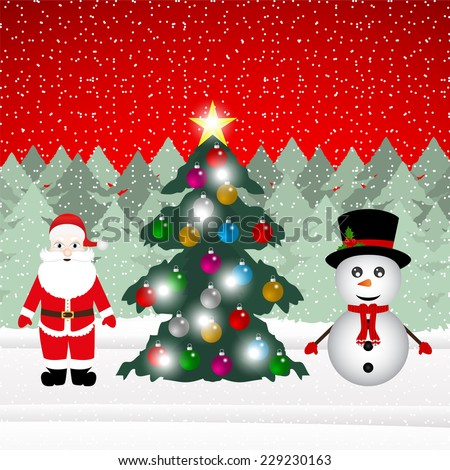 Snowman and Santa Claus with Christmas tree in the forest - stock vector