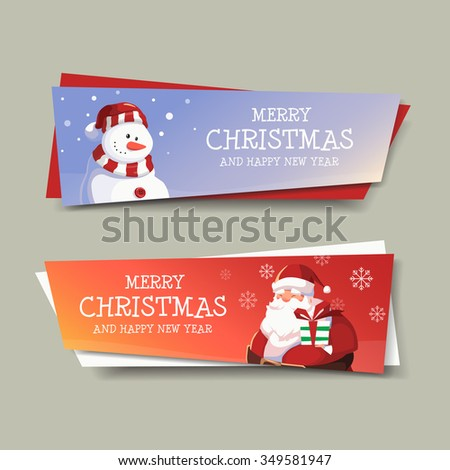 Snowman and Santa Clause Greeting Merry Christmas and Happy New Year Banner Design  - stock vector